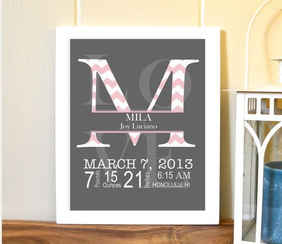 Monogram letter, nursery art, birth details, baby girl nursery, pink grey nursery, chevron, 8x10 print on Etsy, $14.99
