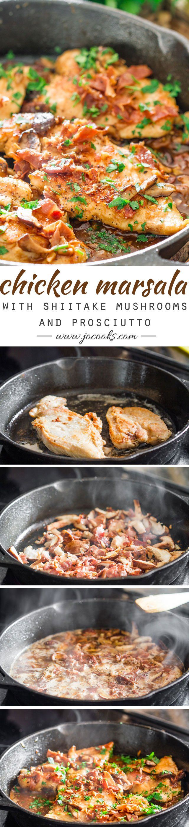Chicken Marsala with Shiitake Mushrooms and Prosciutto - an Italian classic that's a quick and easy family favorite dinner recipe. Delizioso!