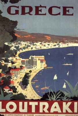 VISIT GREECE| Loutraki - Ministry of Press and Tourism poster 1934