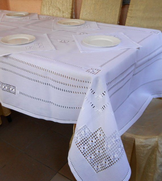 Vintage Linen Runner White Work Embroidery White Linen Embroidered Textile Table Cloth Heirloom Linen Whitework Cut Out Lace White Table