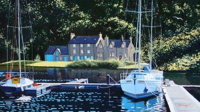 Scottish Artist Frank COLCLOUGH - Sunlight Bellanoch Moorings