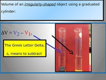 The powerpoint covers how to calculate the volume of various shapes in a science lab, including a rectangular prism, a sphere, a cylinder, and an irregularly-shaped object. The slides go into great detail how to perform the measurements and then make the calculations.