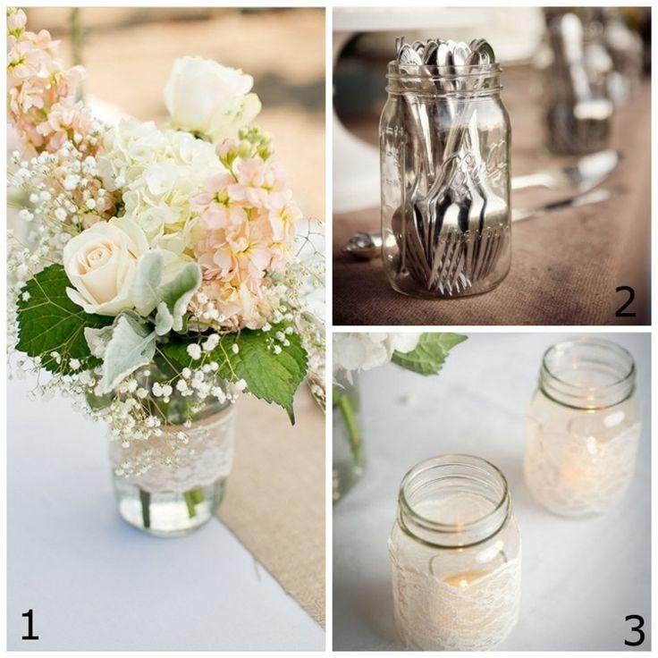 Wedding Decorations Using Mason Jars: 14 Best Burlap And Lace Bouquet Wraps Images On Pinterest