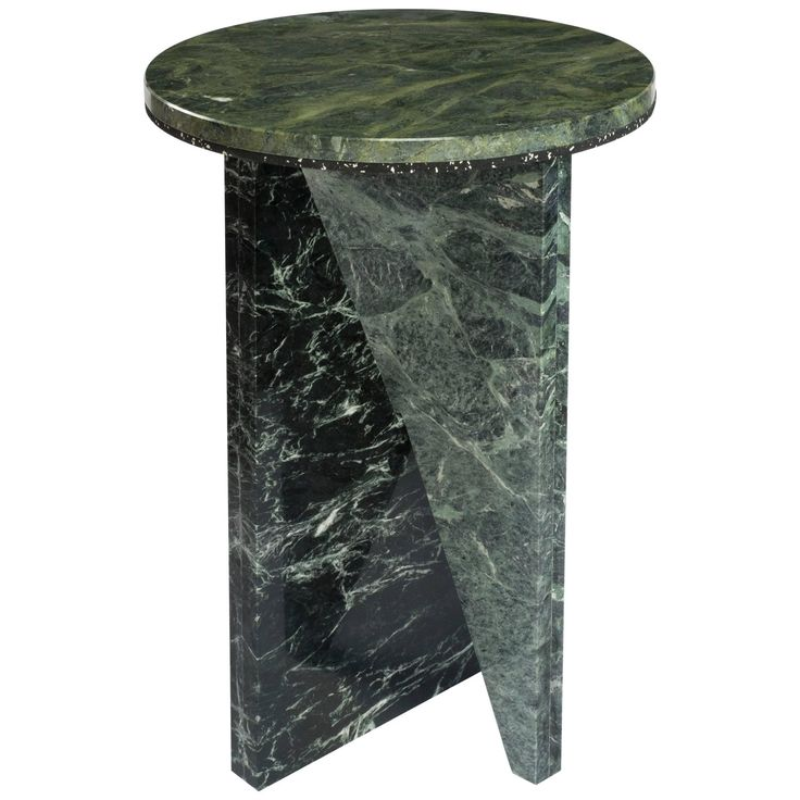 Green marble side table by jonathan zawada made in usa