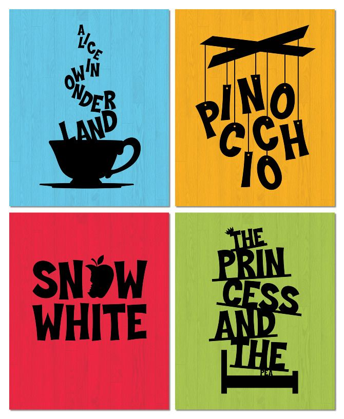 These are posters that Carolyn Sewell created in 2010 for Fulton Theater Family Series. The way she uses type to reflect the narrative of the stories is beautiful in its simplicity. The Princess and the Pea one is my favorite.  You can see more of her excellent work at www.carolynsewell.com