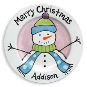 Merry Christmas plate - from Paint it Pottery Shop. Could have kids make the simple drawing and then transfer it onto their plate.
