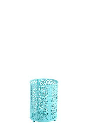 """This glass and metal hurricane with lace cut out detail can be used with a tealight or pillar candle for a beautiful glowing touch to your home or ideal as a centre piece for a table setting.<div class=""""pdpDescContent""""><BR /><b class=""""pdpDesc"""">Dimensions:</b><BR />L11xW11xH15 cm</div>"""
