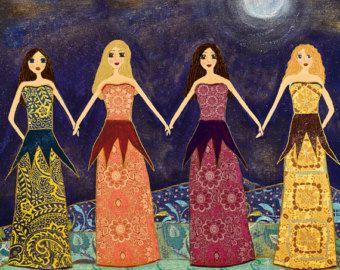Cuatro hermanas impresión caprichosa inspiración por LindyLonghurst