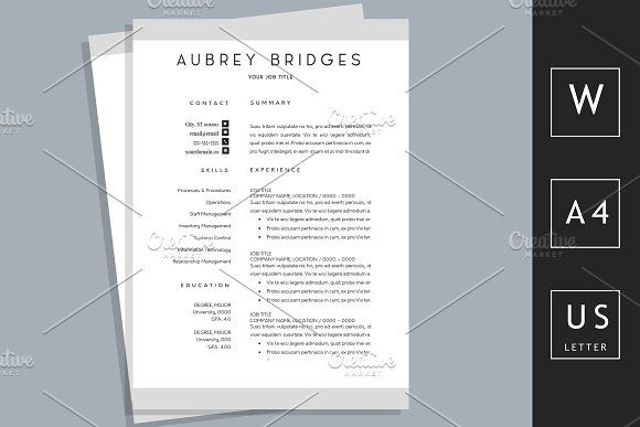 1 Page CV For Word By Chic Resumes On Graphicsauthor