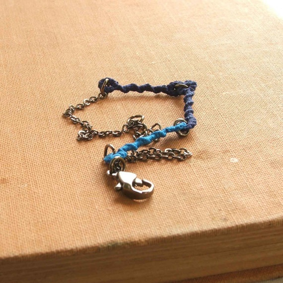 Boho tatted bracelet in three blue pieces of lace and by NgaioRue, $25.00  www.ngaiorue.com