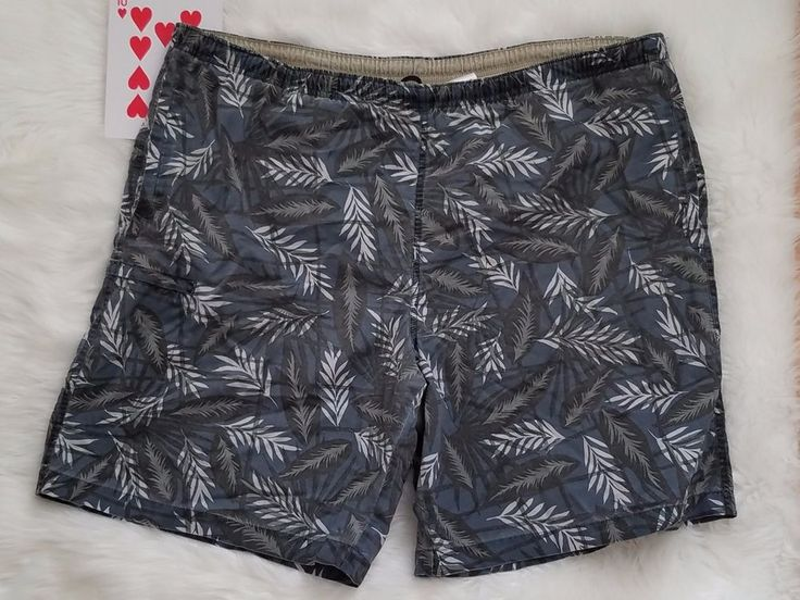 Columbia Men's Swim Trunks Shorts Size XL Lined Blue Floral Cotton Nylon  #Columbia #Trunks