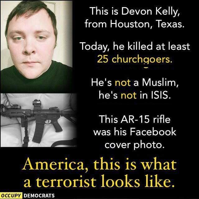"""This right here is what a domestic terrorist looks like. Notice that he's a white guy, a Caucasian clean cut male, a dishonorably discharged USAF member, not a Jihadist terrorist or Muslim or ISIS, not """"one of them illegals"""". He's an American citizen. Means this was domestic terrorism plain and simple."""