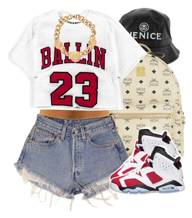 """""""Ballin' in Carmines."""" by livelifefreelyy ❤ liked on Polyvore featuring MCM, Levi's, Retrò and Versace"""