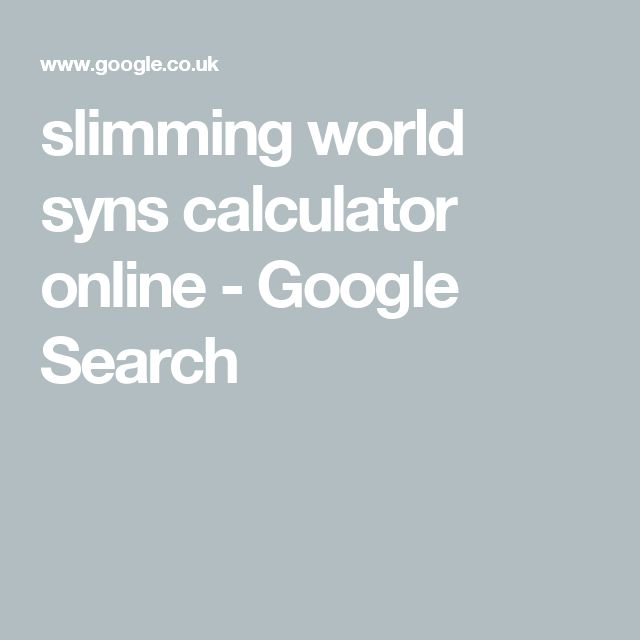 slimming world syns calculator online - Google Search
