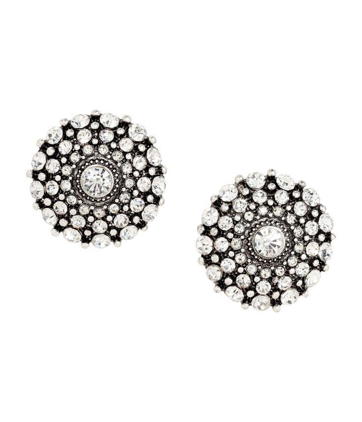 Runde strassøredobber   Sølv/Hvit   Dame   H&M NO