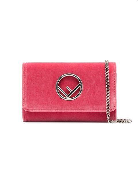 c5ddb8d26f15 Fendi Pink Logo Velvet Wallet On Chain - Farfetch Fendi