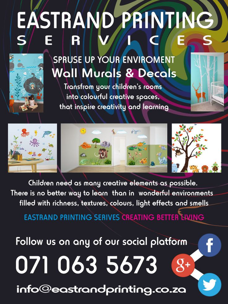 Wall Murals & Decals for Kids Rooms  Give your kids the learning edge.   EastRand Printing Services Can Assist you  071 063 5673 www.eastrandprinting.co.za info@eastrandprinting.co.za google.com/+EastrandprintingCoZa www.pinterest.com/eastrandprint