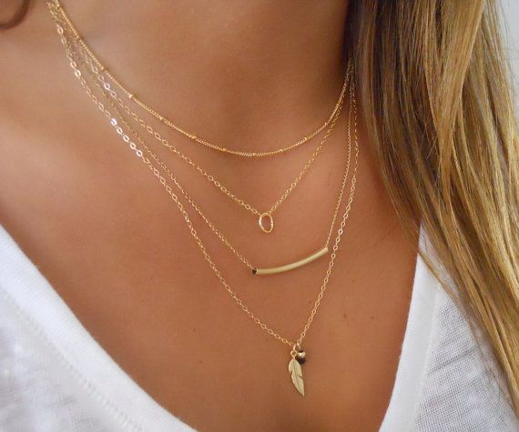 Delicate set of 4 Gold Necklaces; Layered Gold Filled Necklace Set; Satellite, Tiny Ring, Tube and Feather Necklaces; 4 Necklace Set