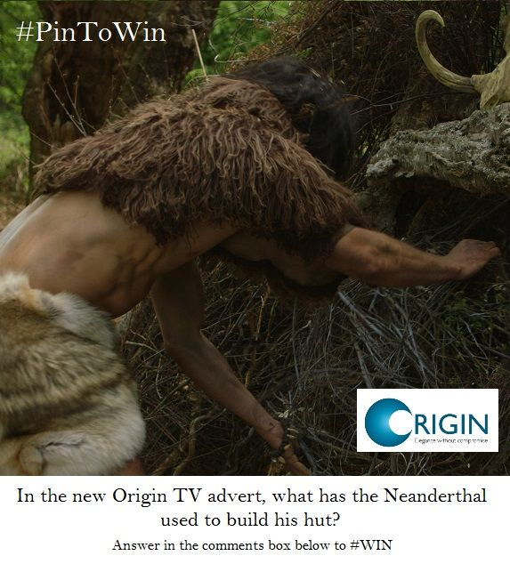 #PinToWin #anewspeciesofdoor WIN with Origin! To enter, answer in the comments box below: What does the Origin Neanderthal use to build his hut?