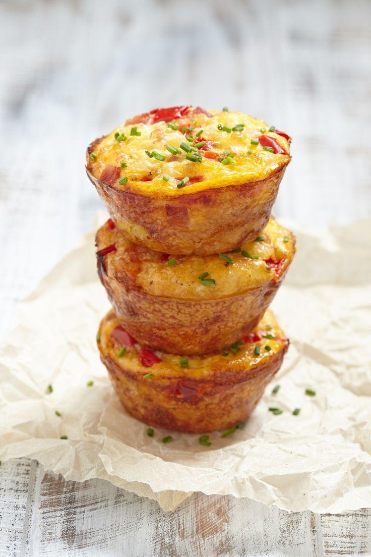 Dietetyczne muffinki jajeczne ze szpinakiem i pieczarkami