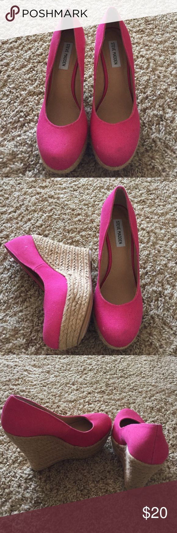 Steve Madden Pink wedges Steve Madden size 8.5 pink wedges Steve Madden Shoes Wedges