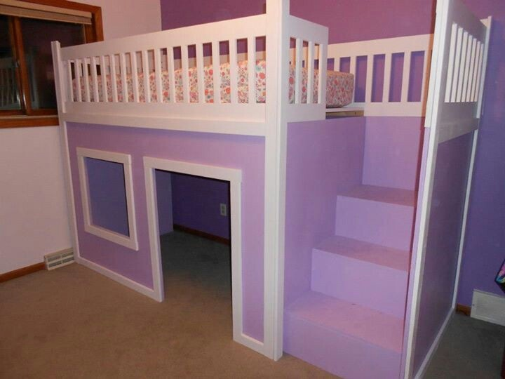Kid 39 s loft bed with fort cute ideas pinterest kids for Fort bedroom ideas