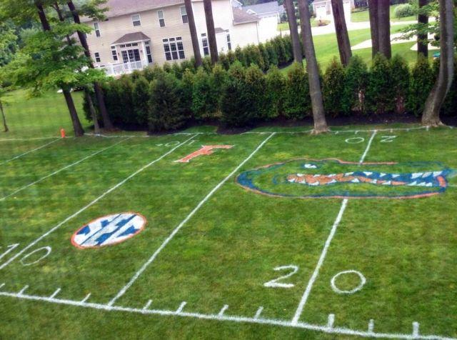 Bro Turns Backyard into Replica of Florida Gators Football Field for Kids