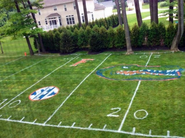 Bro Turns Backyard into Replica of Florida Gators Football Field for Kids