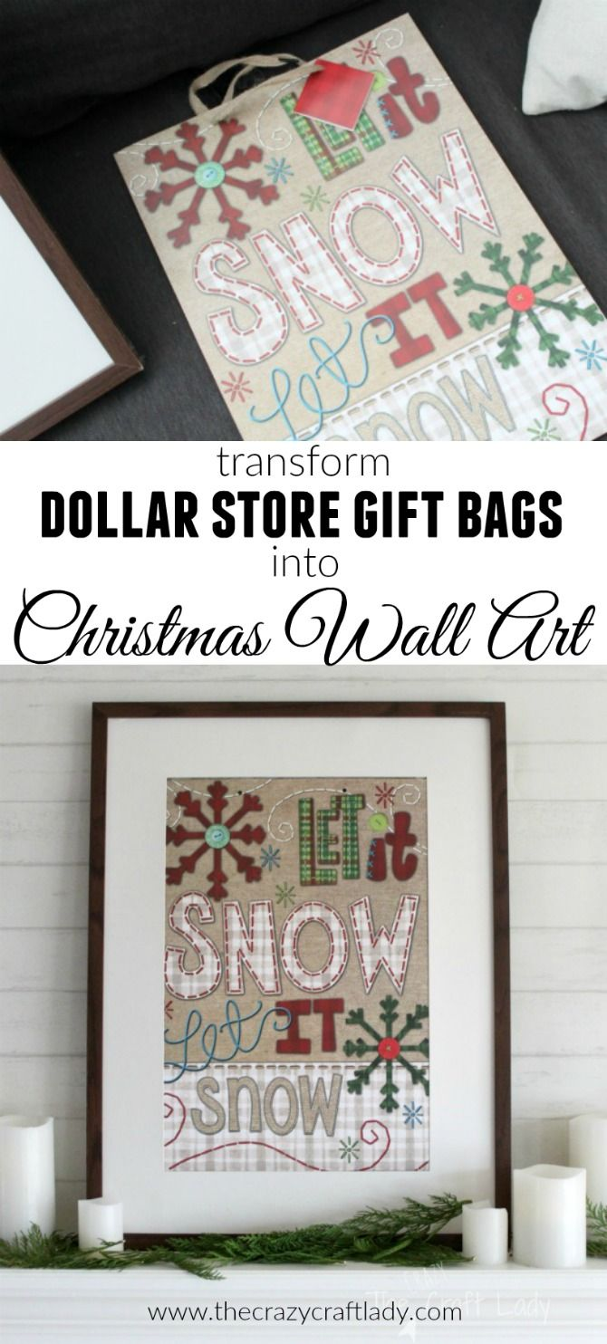 Dollar Store Christmas Decorations - how to make easy seasonal wall decor with dollar store gift bags