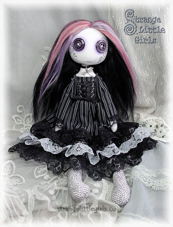 Button eyed Gothic cloth art doll medium Serena Stillwater  by Strange Little Girls #ButtonEyedDolls #GothicDolls