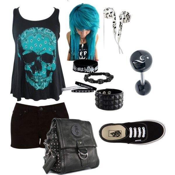Goth/scene/emo/punk summer outfit #1 by danielleyazzie on Polyvore featuring polyvore, fashion, style, Oasis, Vans, Juicy Couture, Blink and 7 For All Mankind