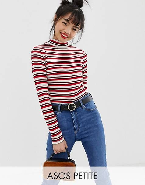 22937daf19f ASOS DESIGN Petite polo neck top in retro stripe