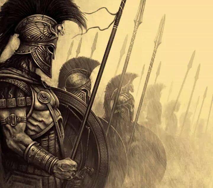 Hoplitas espartanos. Peleaban con una lanza y el escudo.