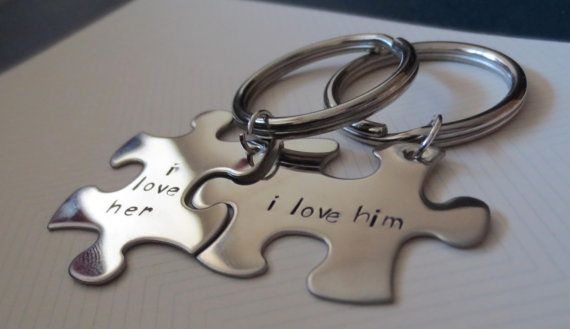 His and Hers Personalized Puzzle Piece Keychain - Couple -2 pieces- Hand Stamped Personalized - Name - Wedding Date- Bridal Party