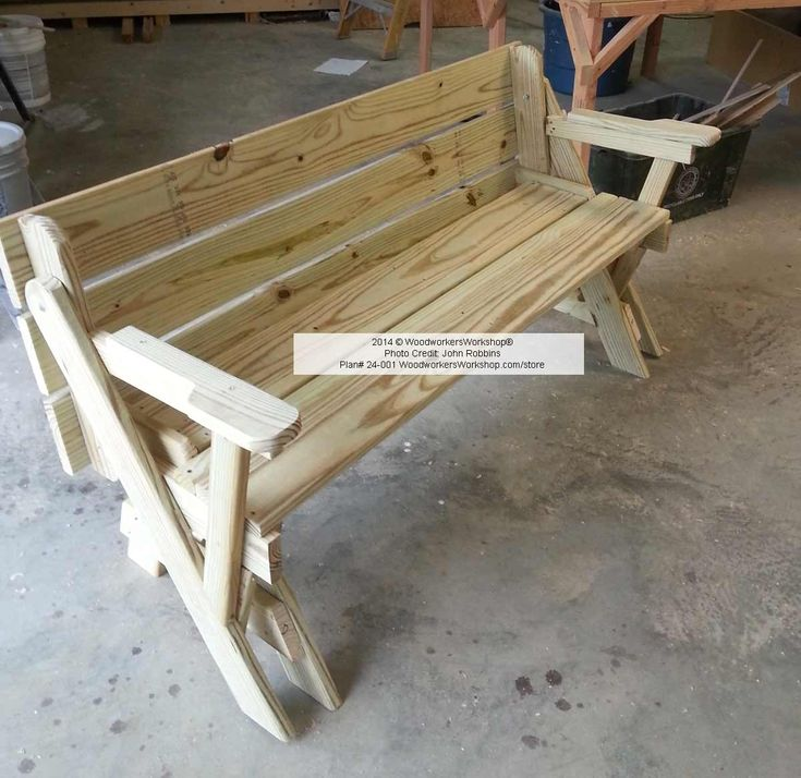 ... -001 - Folding Bench And Picnic Table Combo (pdf) Woodworking Plan