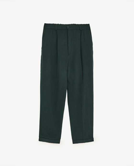 Image 8 of CROPPED TROUSERS WITH STRETCH WAIST from Zara