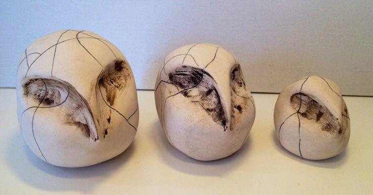 Owl trio - porcelain