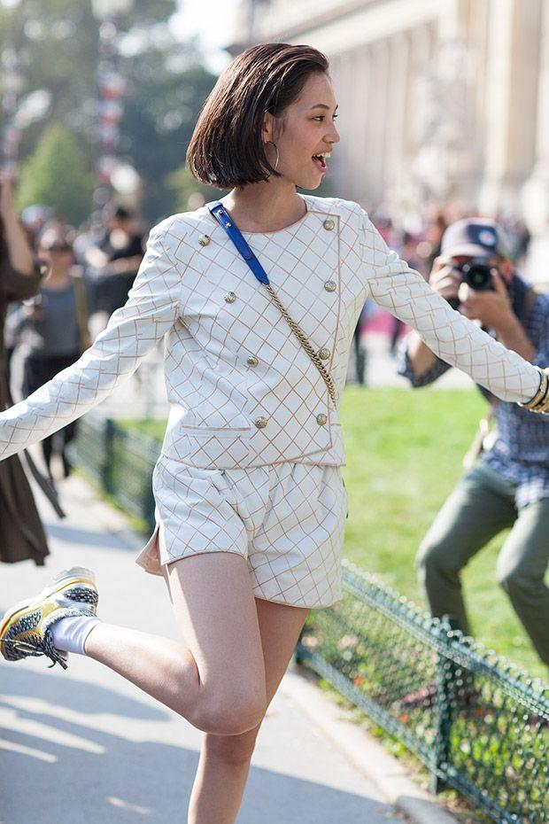 Kiko Mizuhara after Chanel at Paris fashion week SS15 | Photographed by Ashka Shen | Xssat Street Fashion