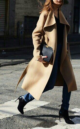 Camel coat, denim and heels.