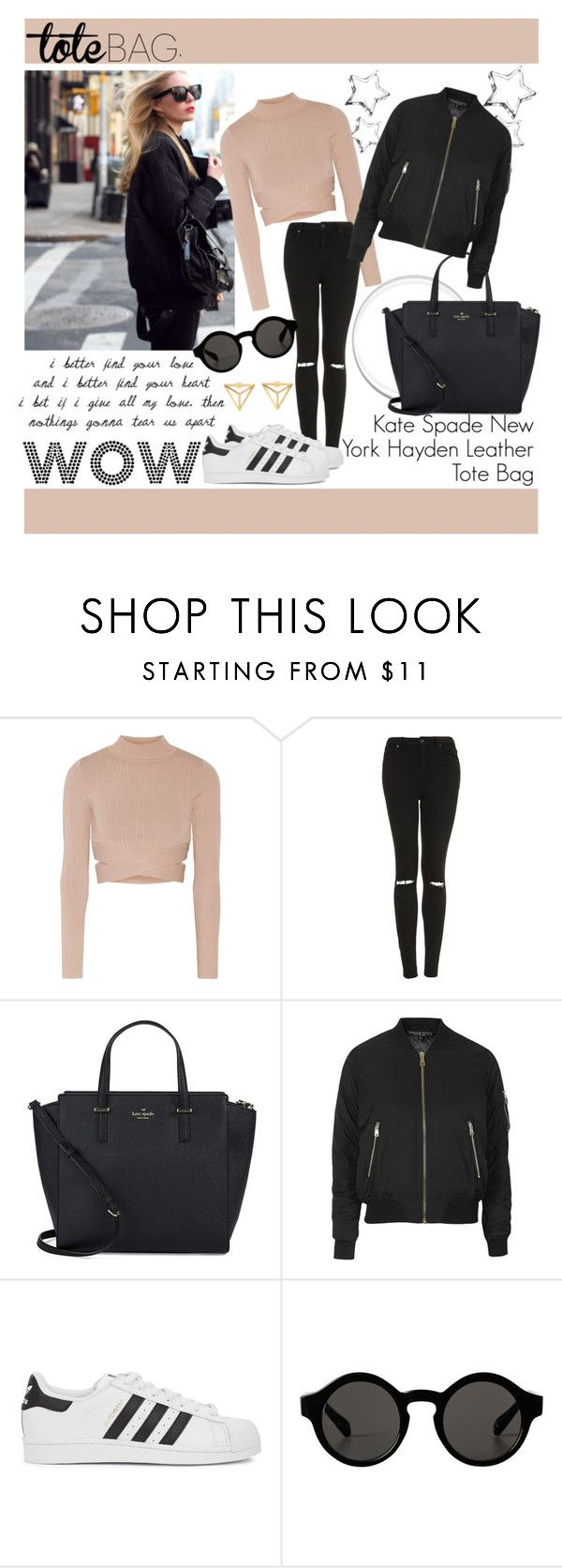 """Tote bag"" by fats-123 ❤ liked on Polyvore featuring Carin Wester, Jonathan Simkhai, Topshop, Kate Spade, adidas Originals and Monki"