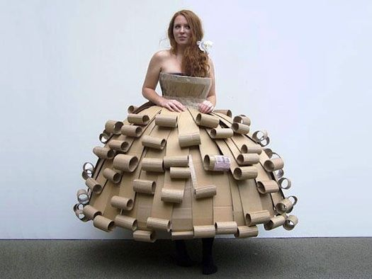 cardboard prom dress- I like how this girl thinks!
