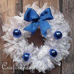 Ruffled Organza Snow Wreath