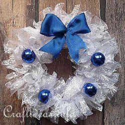 Ruffled Organza Snow Wreath | AllFreeChristmasCrafts.com. if done properly, so cute!