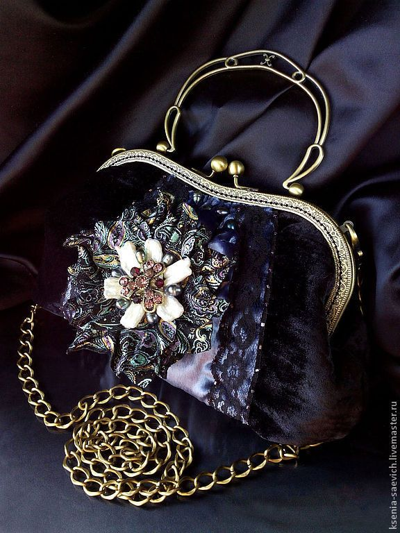 """Купить Сумочка из бархата """"Винтажный цветок"""" - пейсли, черный, сумочка, вечерняя сумочка, ридиюль"""