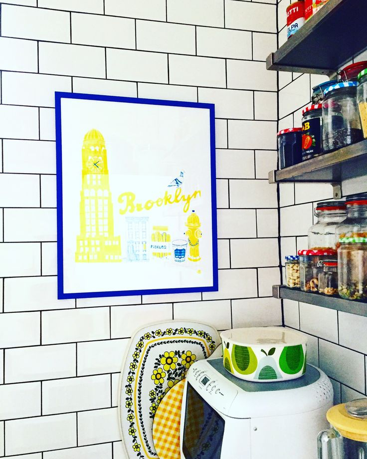 Claudia Pearson Brooklyn print in my kitchen. #kitchen #corner #myhome #mystyle #tiles #colour #pantry #pattern #claudiapearson #illustration