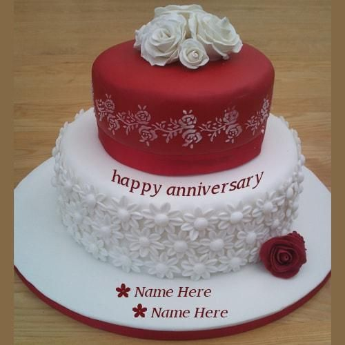 red and white anniversary wishes cakes