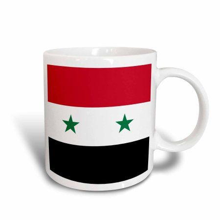3dRose Flag of Syria - Syrian red white black with two green stars Middle East Arab country Arabic world, Ceramic Mug, 15-ounce