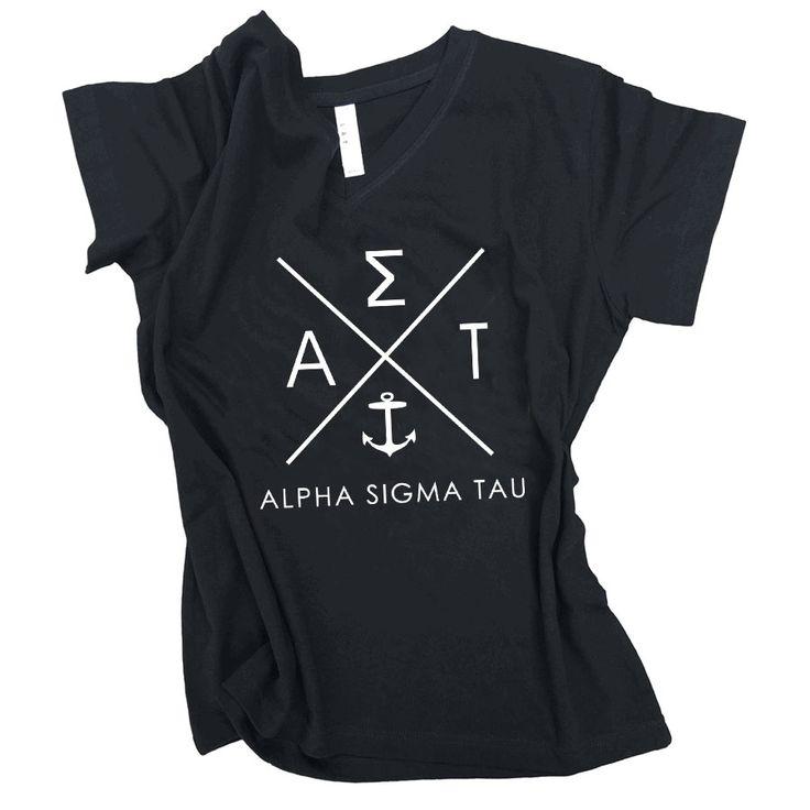 Alpha Sigma Tau Infinity V-Neck Shirt SALE $18.95. - Greek Gear®