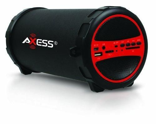 "AXESS SPBT1031RD Portable Bluetooth Indoor/Outdoor 2.1 Hi-Fi Cylinder Loud Speaker with Built-In 3"" Sub and SD Card USB AUX Inputs in Red"