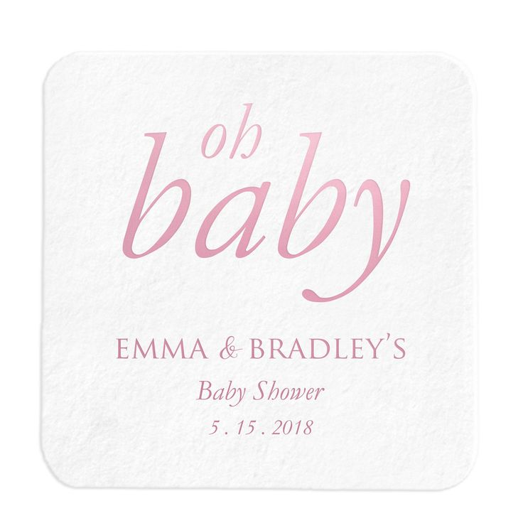 Oh Baby Coasters – Personalized Baby Shower Favors - 25 Set